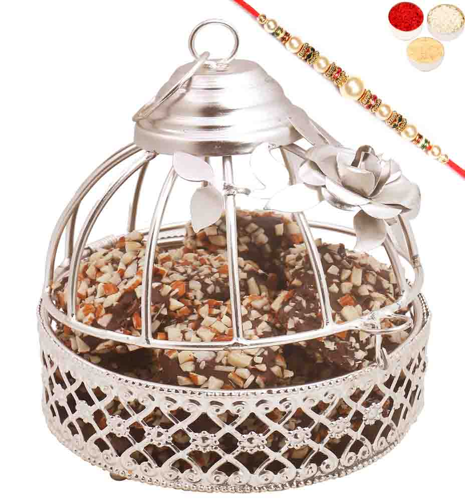 Rakhi Hampers-Silver English Chocolate Brittles Cage with Pearl Rakhi