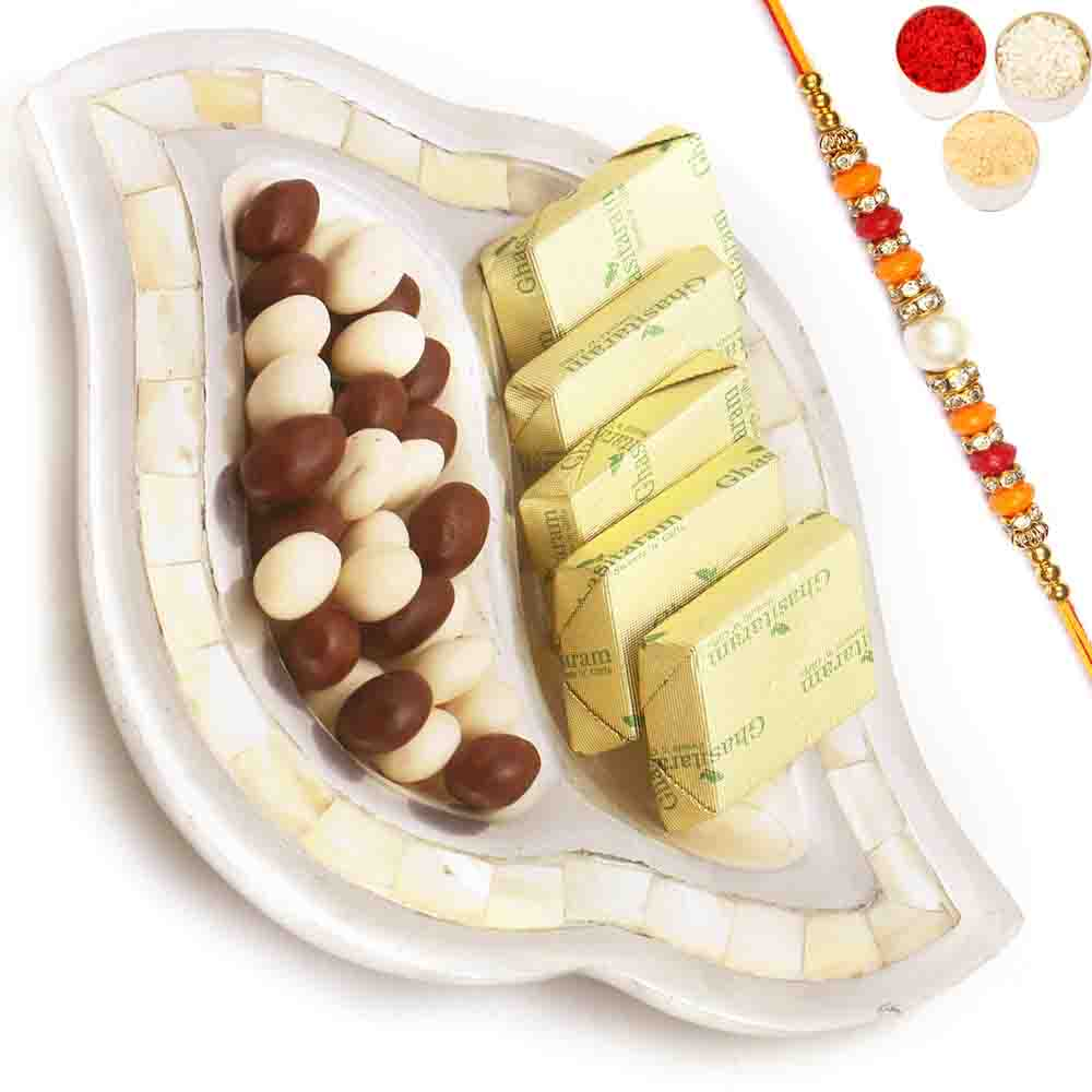 Silver 2 Part Chocolate And Nutties Tray with Pearl Diamond Rakhi