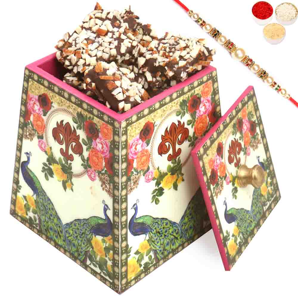 Multicolour Wooden English Chocolate Brittles Jar with Pearl Rakhi