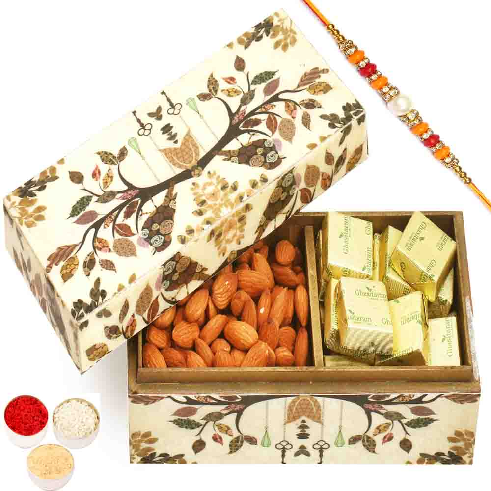 Wooden 2 part Chocolate and Almonds Box with Pearl Diamond Rakhi