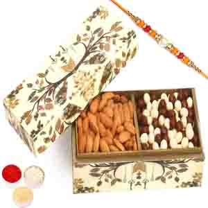 Rakhi Hampers-Wooden 2 part Nutties and Almonds Box with Pearl Diamond Rakhi