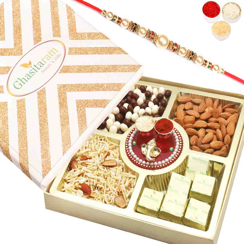 Special Almonds, Namkeen, Nutties and Chocolate Box with Mini Pooja Thali with Pearl Rakhi