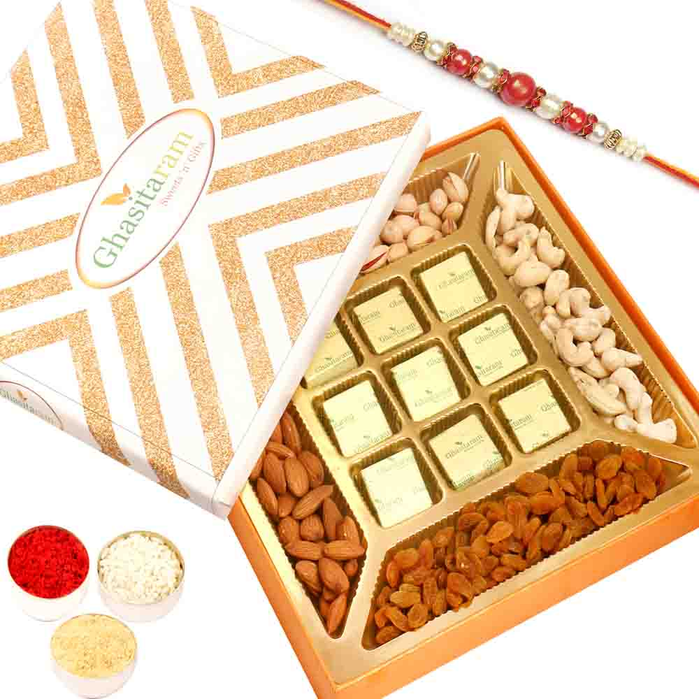 Special Dryfruits and 9 pcs Chocolates Box with Red Pearl Rakhi