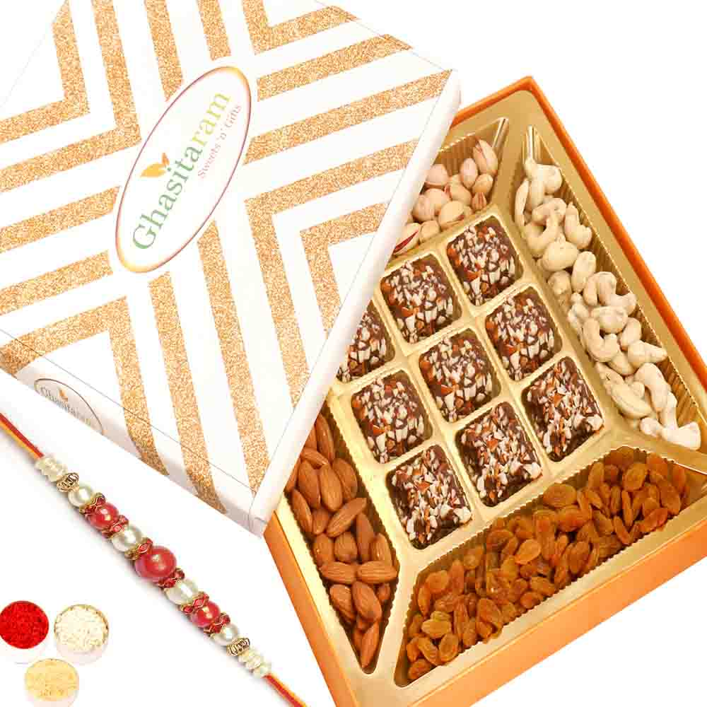 Special Dryfruits and 9 pcs English Brittle Chocolate Box with Red Pearl Rakhi