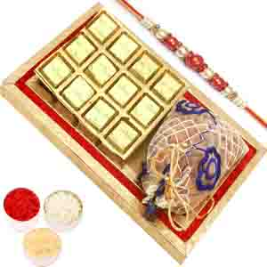 Rakhi Hampers-Red and Gold 8 pcs Chocolates and Almond Pouch Tray with Red Pearl Rakhi