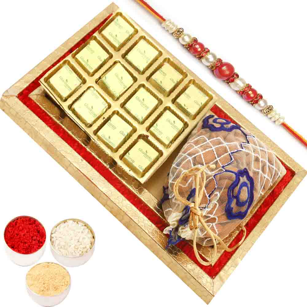 Red and Gold 8 pcs Chocolates and Almond Pouch Tray with Red Pearl Rakhi