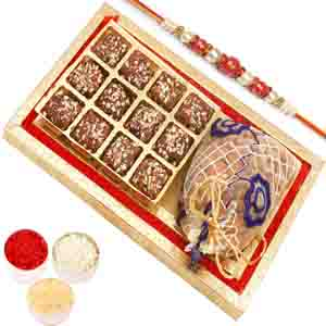Rakhi Hampers-Red and Gold 8 pcs English Brittle Chocolates and Almond Box with Red Pearl Rakhi