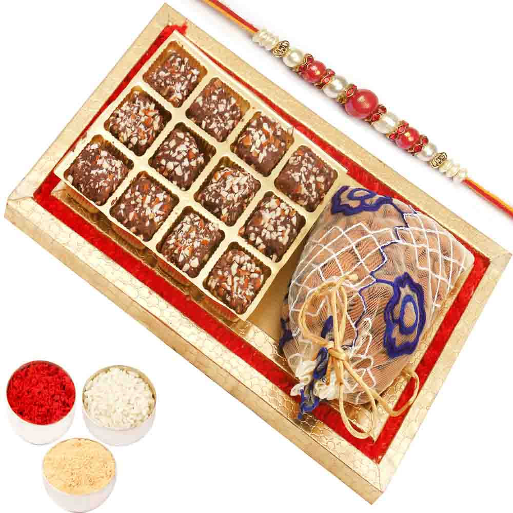 Red and Gold 8 pcs English Brittle Chocolates and Almond Box with Red Pearl Rakhi