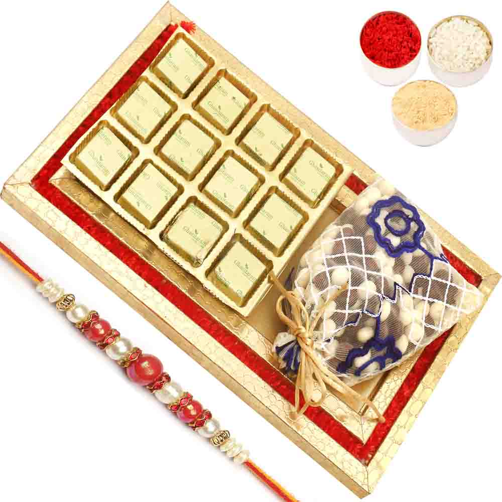 Red and Gold 8 Pcs Chocolate and Nutties Tray with Red Pearl Rakhi