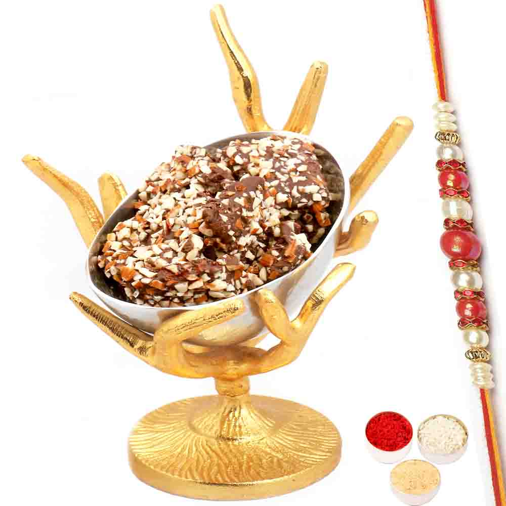 Silver Designer Tree English Brittle Chocolate Bowl with Red Pearl Rakhi