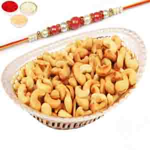 Rakhi Hampers-Silver Oval Bowl with Roasted Cashews with Red Pearl Rakhi