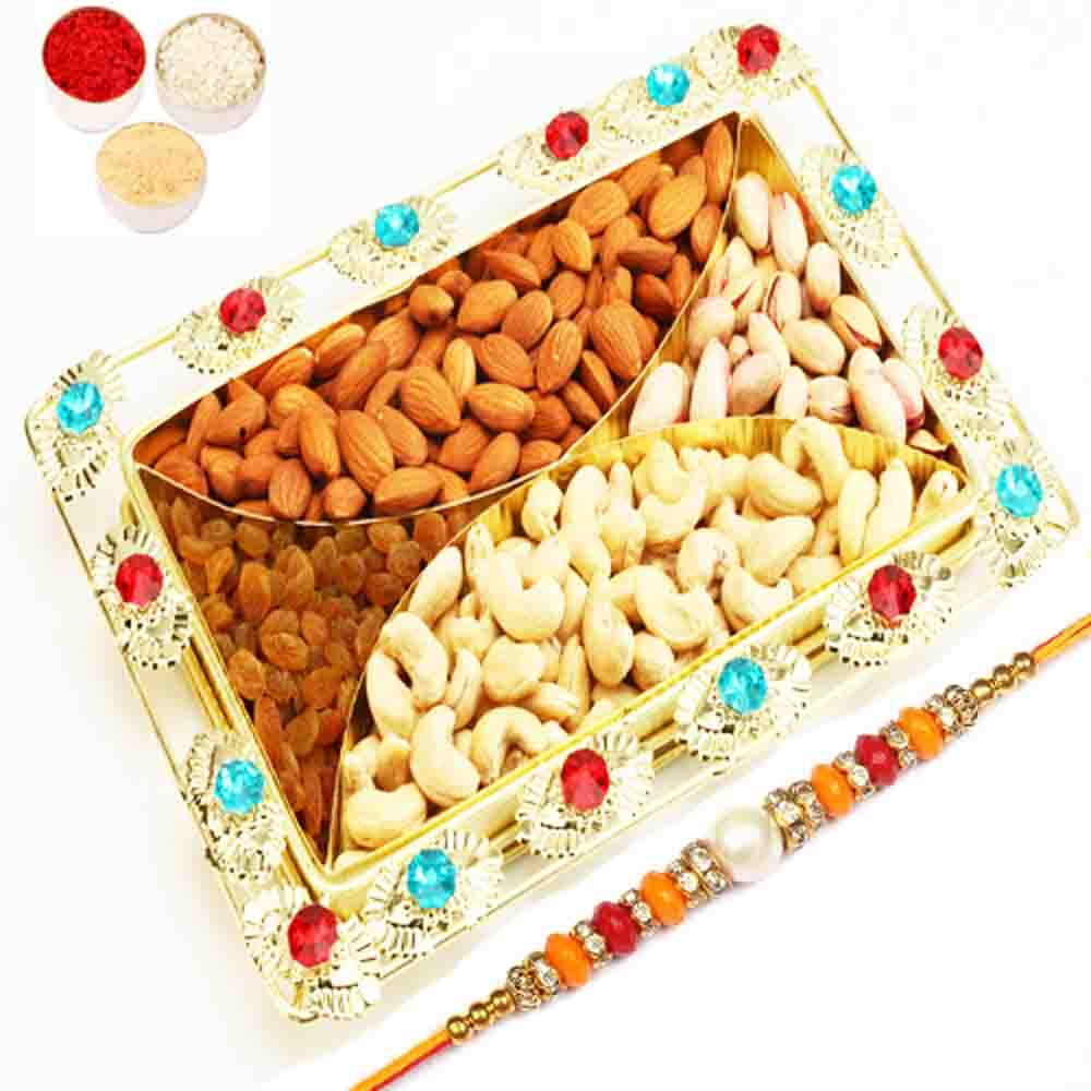 4 Part Coloured Beads Golden Tray with Pearl Diamond Rakhi