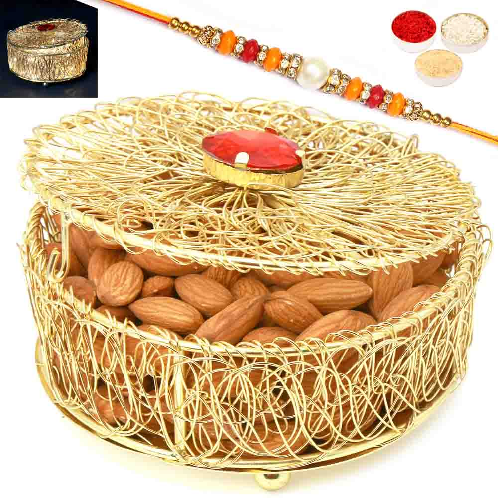 Rakhi Hampers-Golden Mesh Light Almond Box with Diamond Rakhi