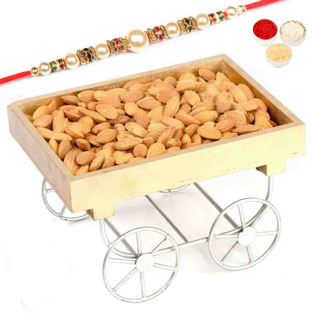 Cart Almonds Tray with Pearl Rakhi
