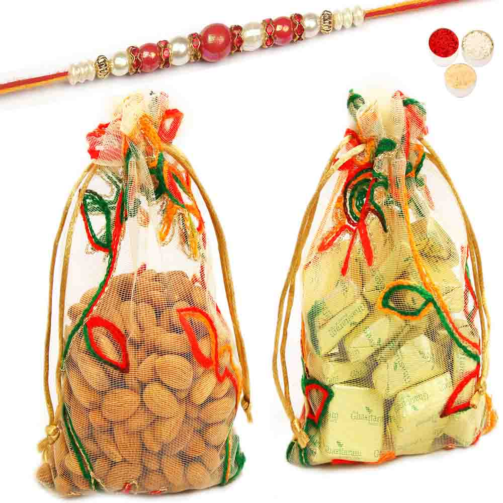 Rakhi Hampers-Almonds and Chocolate Net Pouch with Red Pearl Rakhi