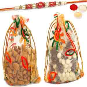 Rakhi Hampers-Almonds and Nutties Net Pouch with Red Pearl Rakhi