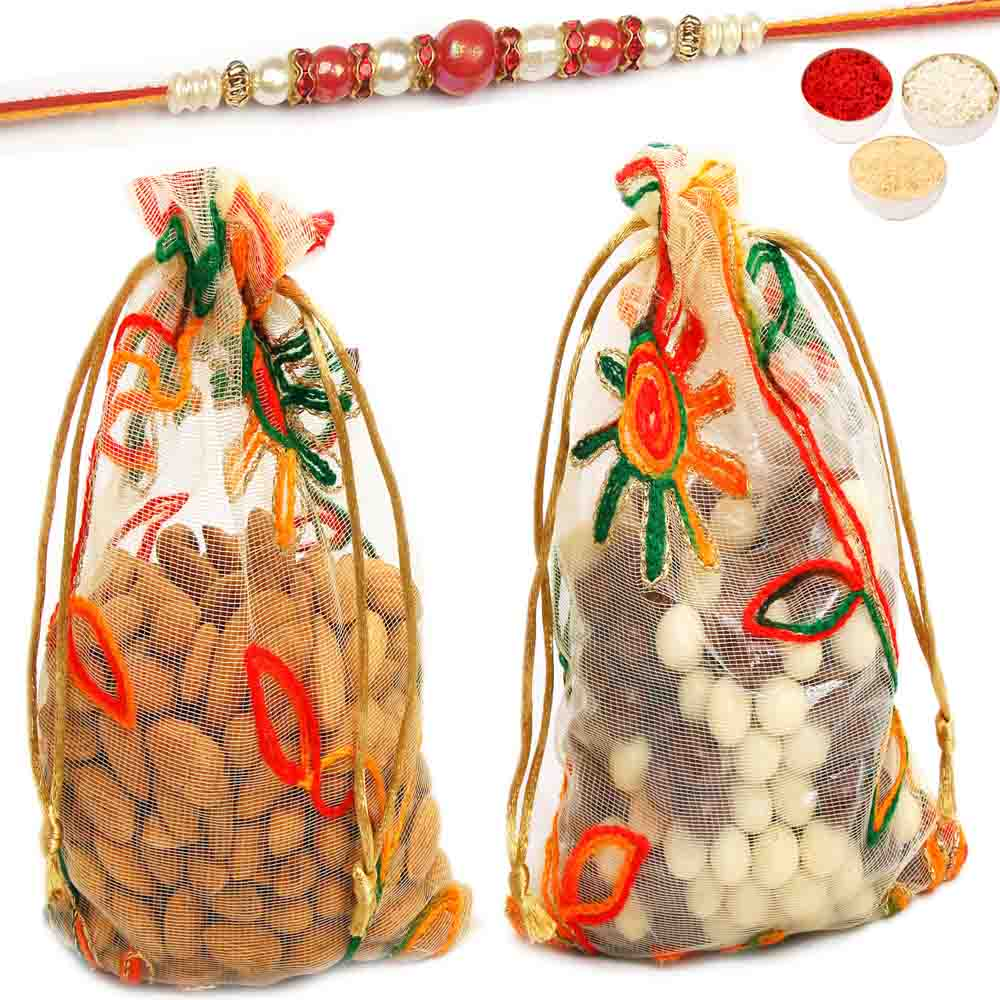 Almonds and Nutties Net Pouch with Red Pearl Rakhi