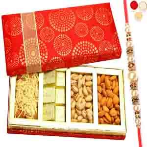 Rakhi Hampers-Satin 4 Part Almonds, Pistachios, Chocolate and Namkeen Box with Pearl Rakhi