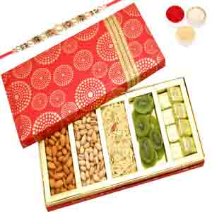 Rakhi Hampers-Satin 5 Part Hamper Box with Pearl Rakhi