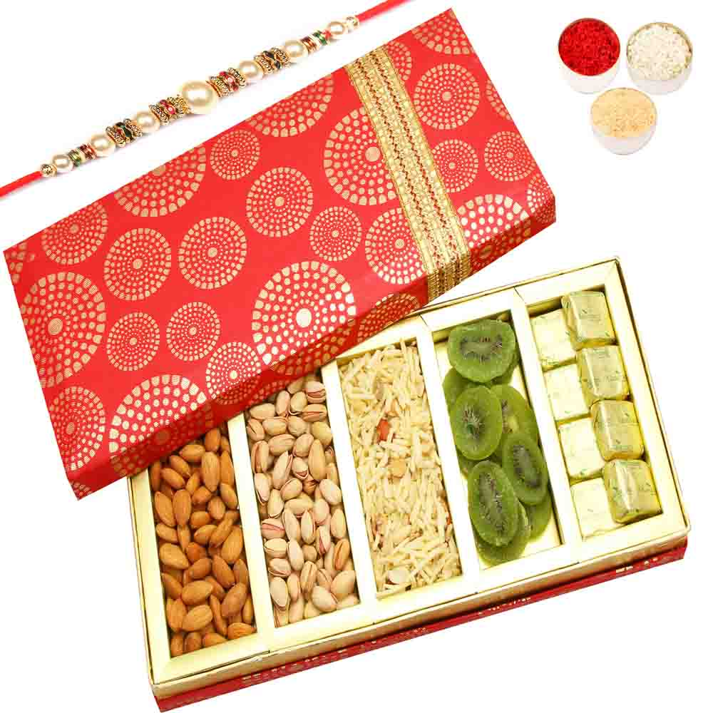 Satin 5 Part Hamper Box with Pearl Rakhi