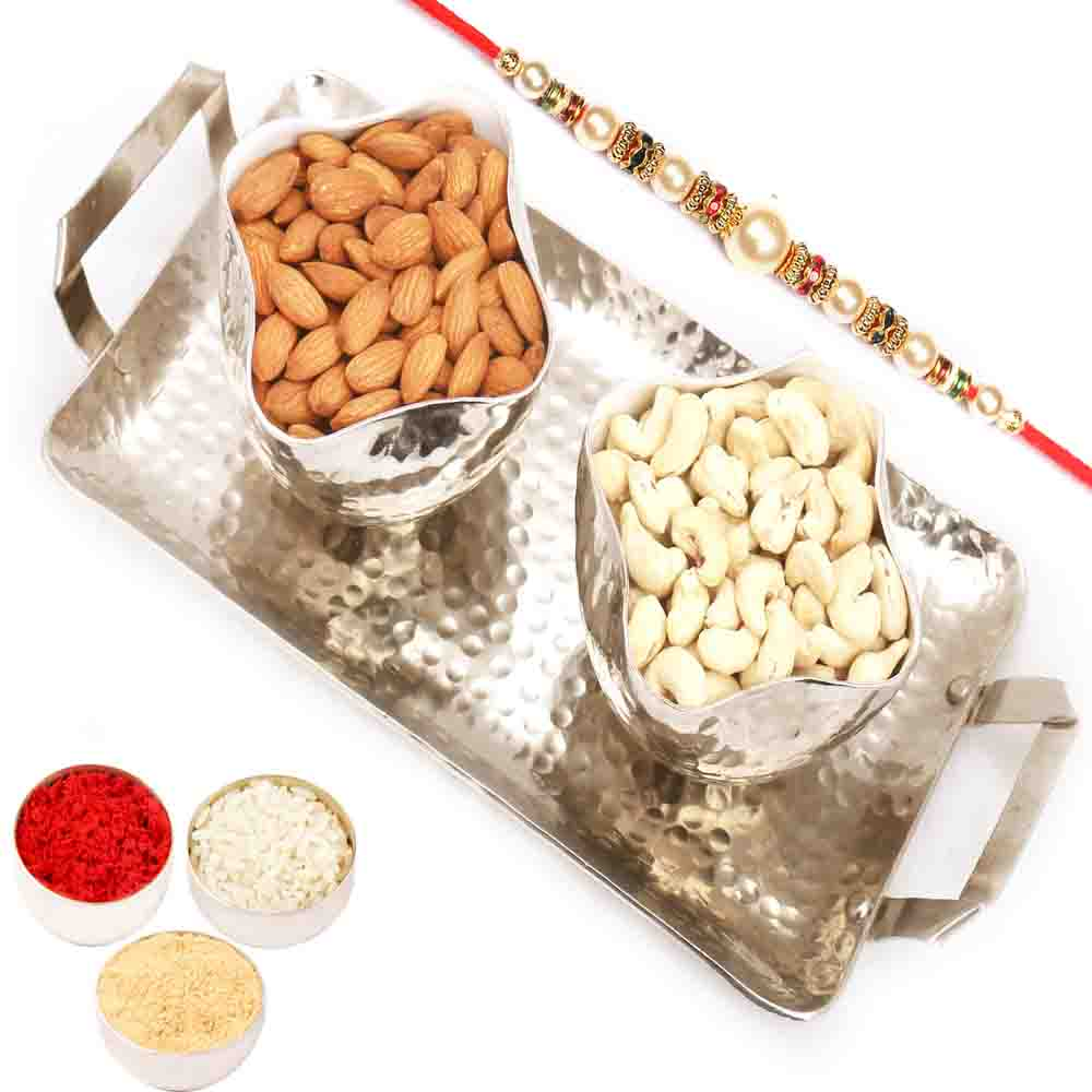 Silver Aluminium Almonds and Cashews Tray with Pearl Rakhi