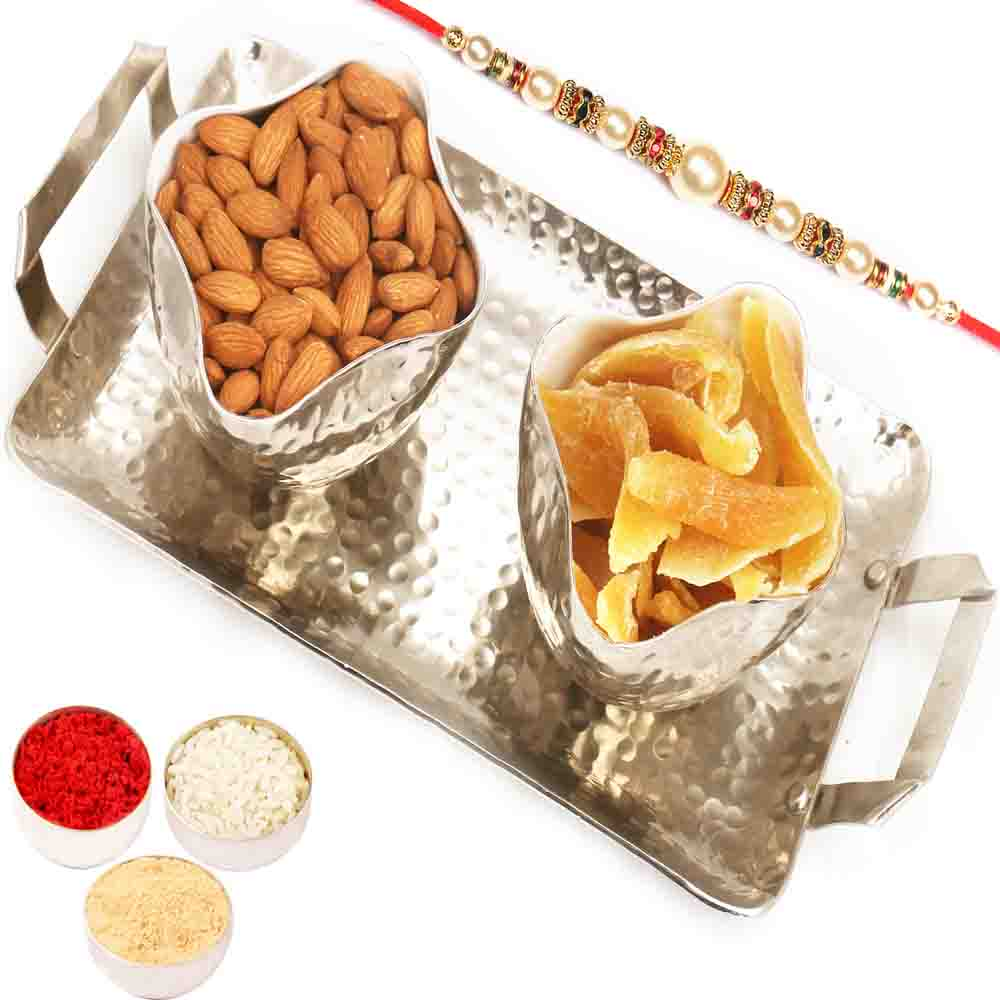 Silver Aluminium Almonds and Dried Mango Tray with Pearl Rakhi
