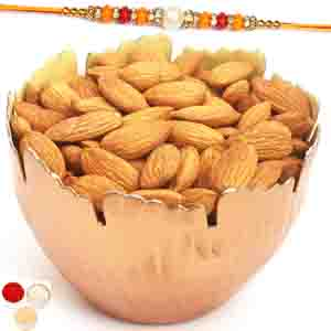 Rakhi Hampers-Copper Designer Almonds Bowl with Pearl Diamond Rakhi