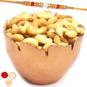 Rakhi Hampers-Copper Designer Roasted Cashew Bowl with Pearl Diamond Rakhi