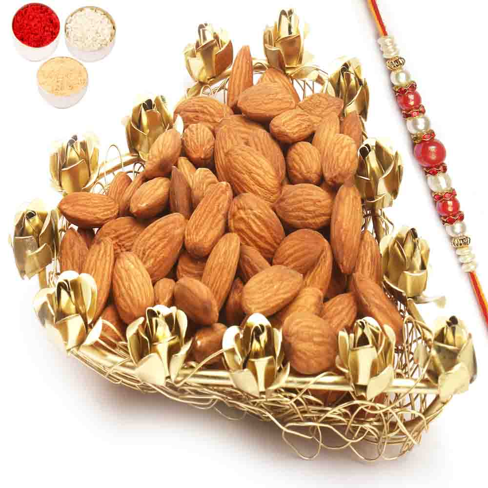 Mesh Heart Almonds Tray with Red Pearl Rakhi