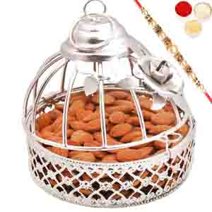 Rakhi Hampers-Silver Almonds Cage with Pearl Rakhi