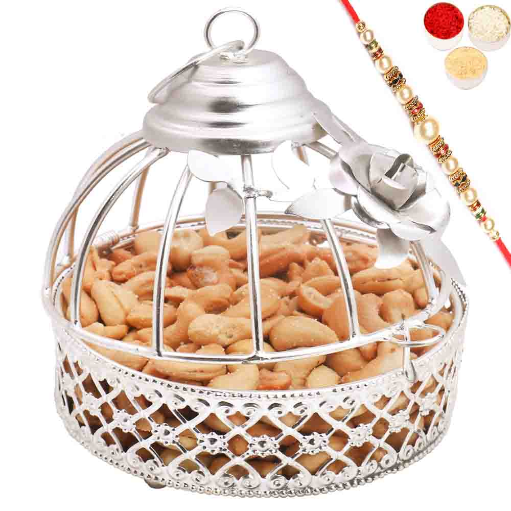 Silver Roasted Cashews Cage with Pearl Rakhi