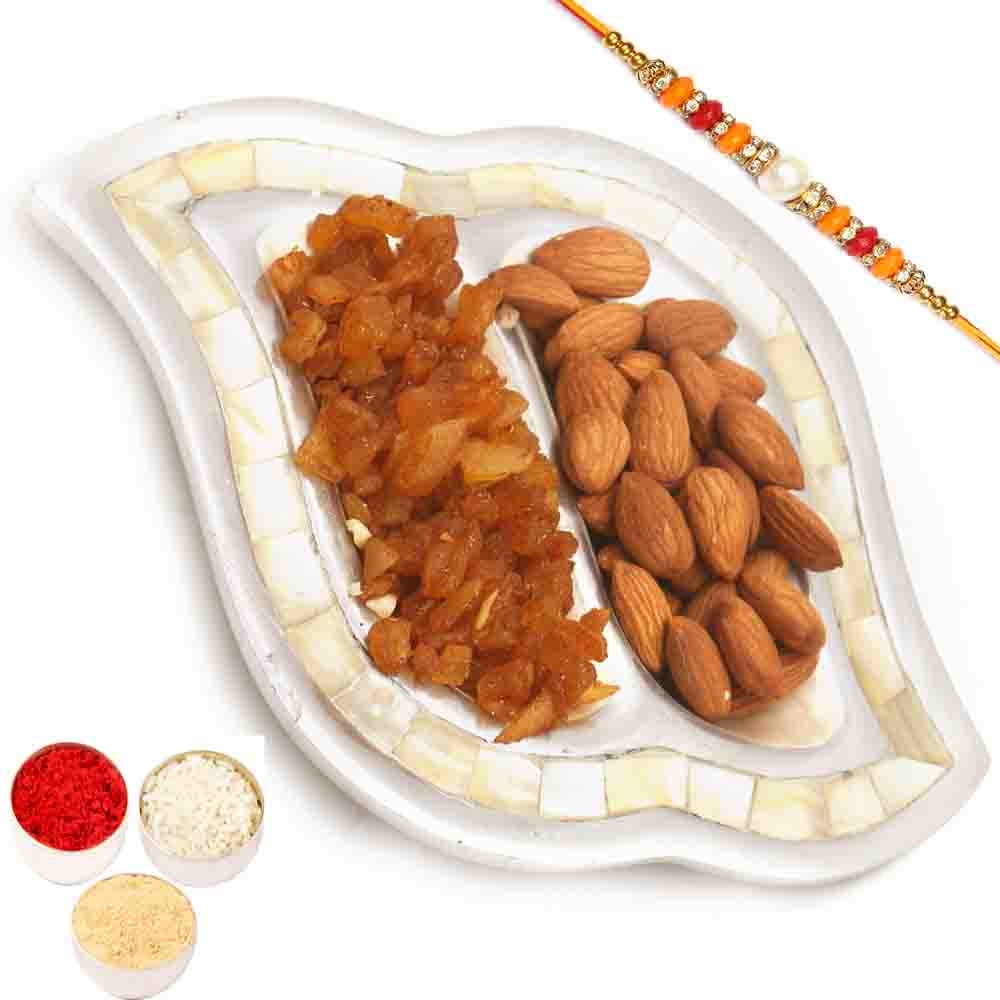 Rakhi Hampers-Silver 2 part Almonds and Masala Mango Tray with Pearl Diamond Rakhi