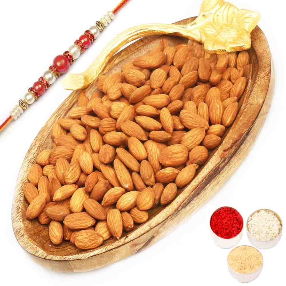 Wooden Almond Platter with Red Pearl Rakhi