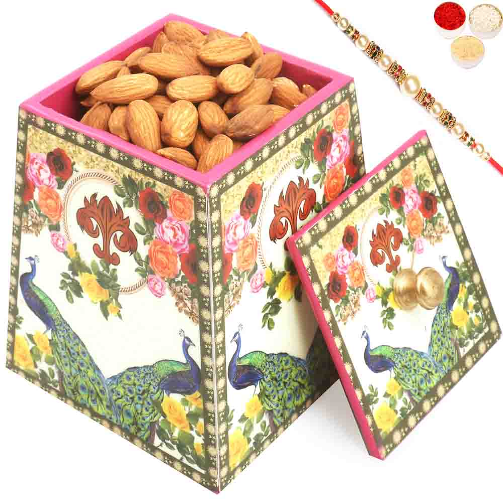 Multicolour Wooden Almonds Jar with Pearl Rakhi