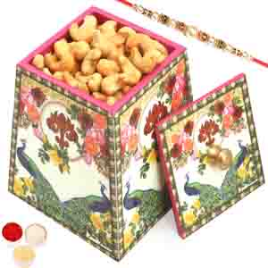 Rakhi Hampers-Multicolour Wooden Roasted Cashews Jar with Pearl Rakhi