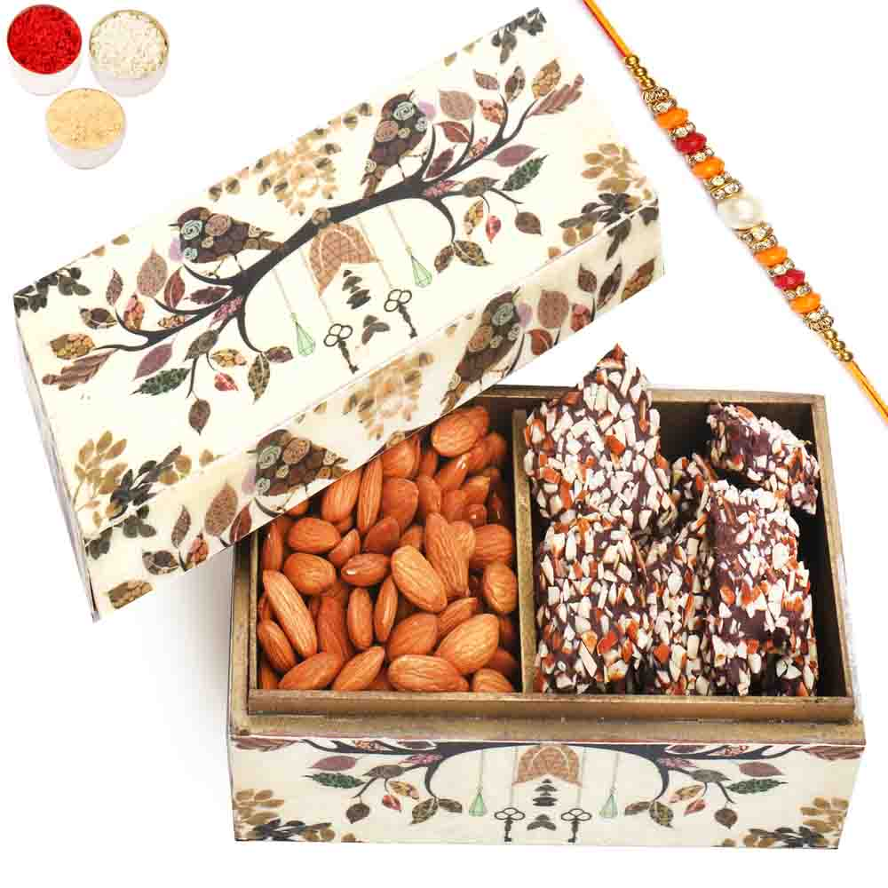 Wooden 2 part English Chocolate Brittles and Almonds Box with Pearl Diamond Rakhi