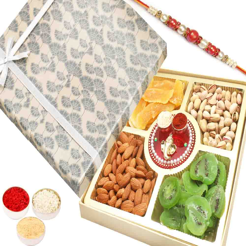 Rakhi Gifts For Brother Rakhi Dryfruits- Grey Print Almonds, Pistachios, Dried Kiwi and Mango Box with Mini Pooja Thali with Red Pearl Rakhi