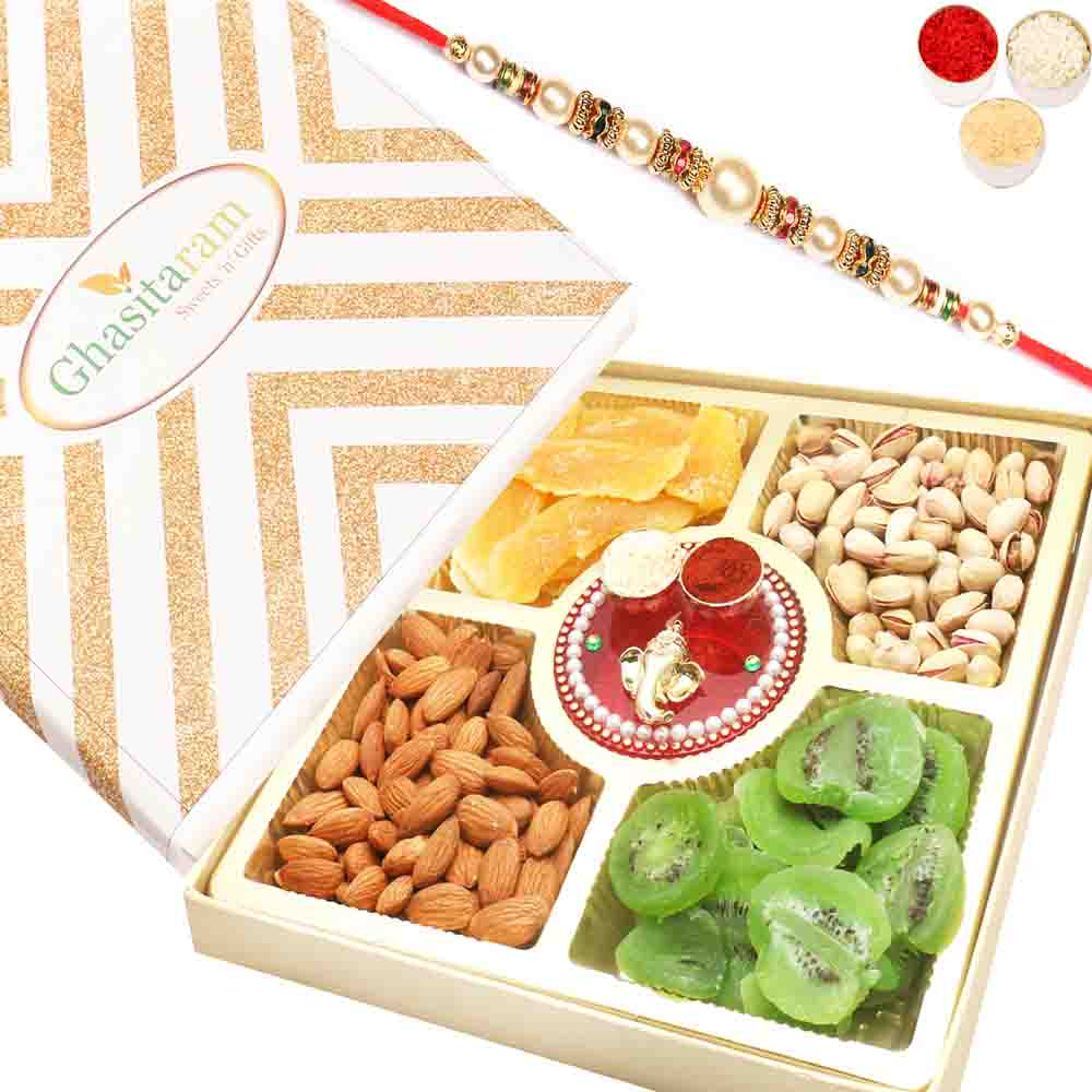 Rakhi Hampers-Rakhi Gifts For Brother Rakhi Dryfruits- Ghasitaram Special Almonds, Pistachios, Dried Kiwi and Mango Box with Mini Pooja Thali with Pearl Rakhi