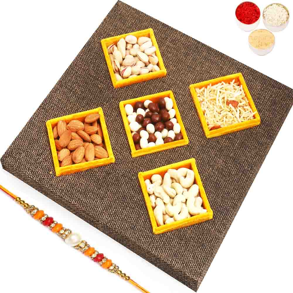 Jute 5 part Part Assorted Dryfruits, Nutties and Namkeen Tray with Pearl Diamond Rakhi