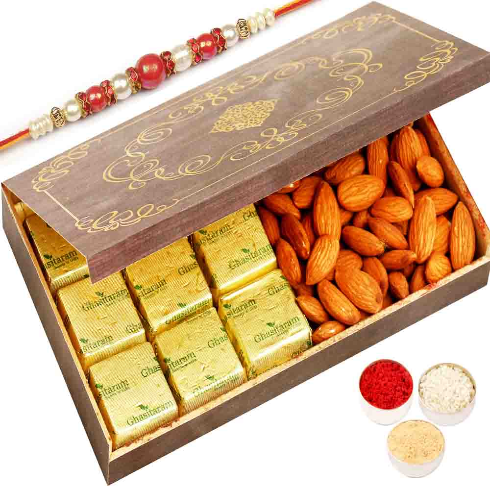 Wooden 9 Pcs Chocolate and Almonds Box with Red Pearl Rakhi