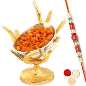 Rakhi Hampers-Silver Designer Tree Masala Mango Bowl with Red Pearl Rakhi