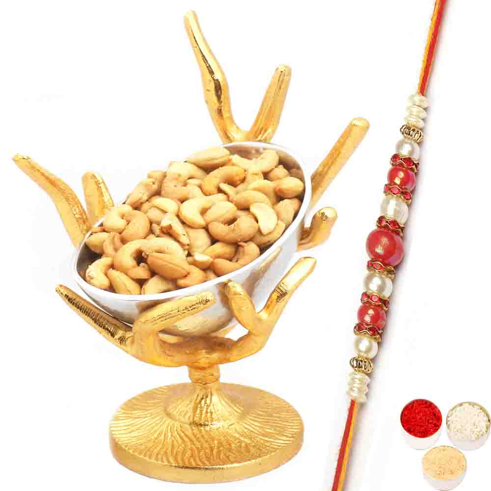 Silver Designer Tree Roasted Cashew Bowl with Red Pearl Rakhi
