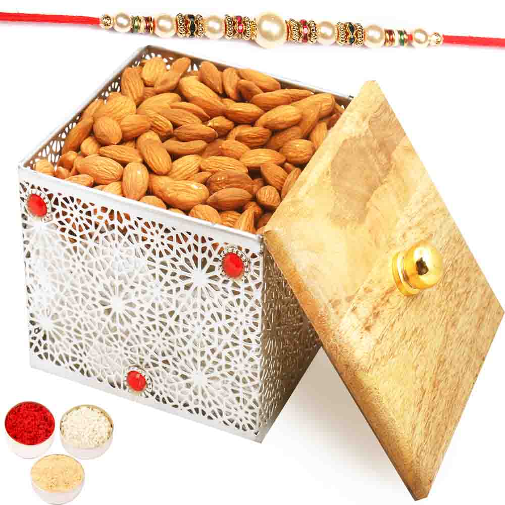 Silver Wooden Almonds Box with Pearl Rakhi