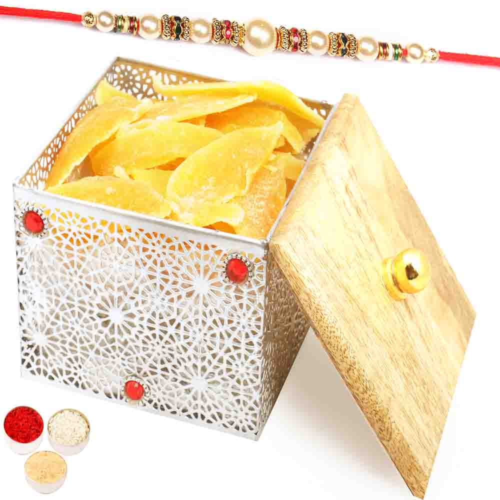 Silver Wooden Sun Dried Mango Box with Pearl Rakhi