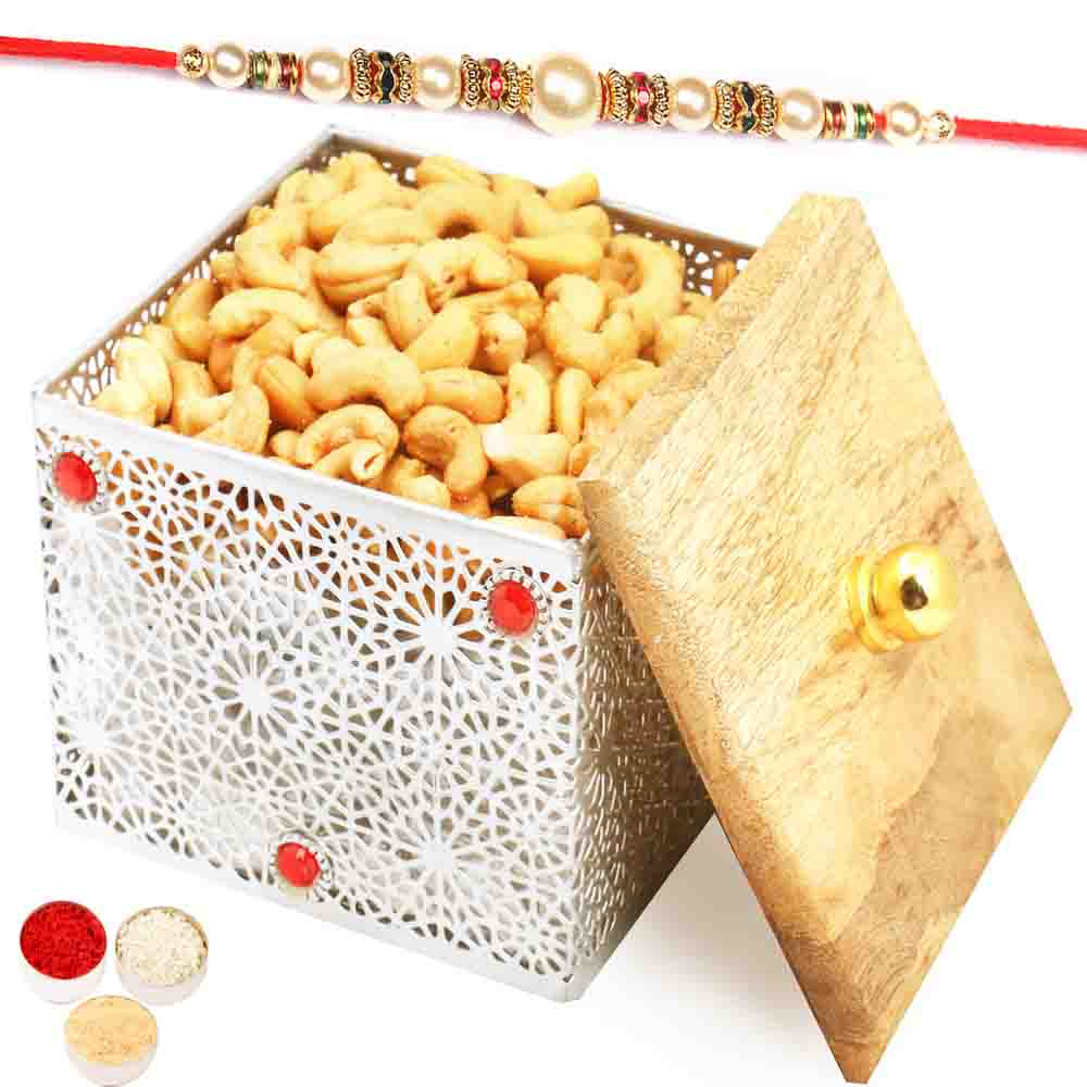 Silver Wooden Roasted Cashew Box with Pearl Rakhi