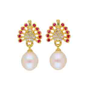 Precious-Peacock Pearl Earrings