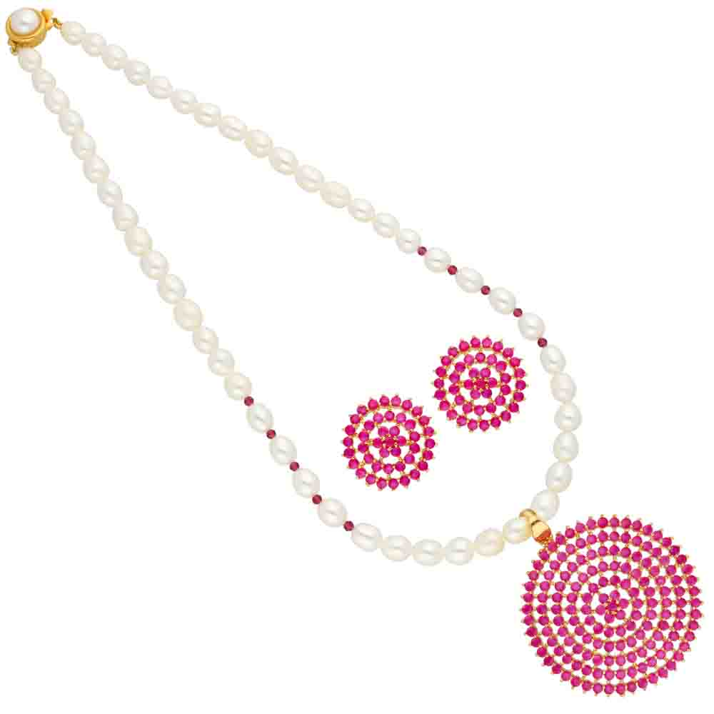 Red Circular Shape Pearl Pendant Set