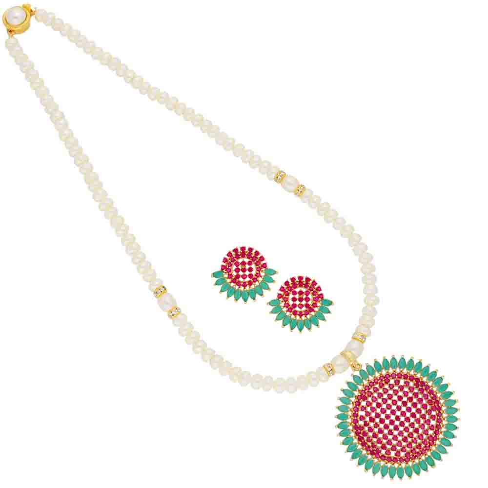 Colourful Circular Pearl Pendant Set