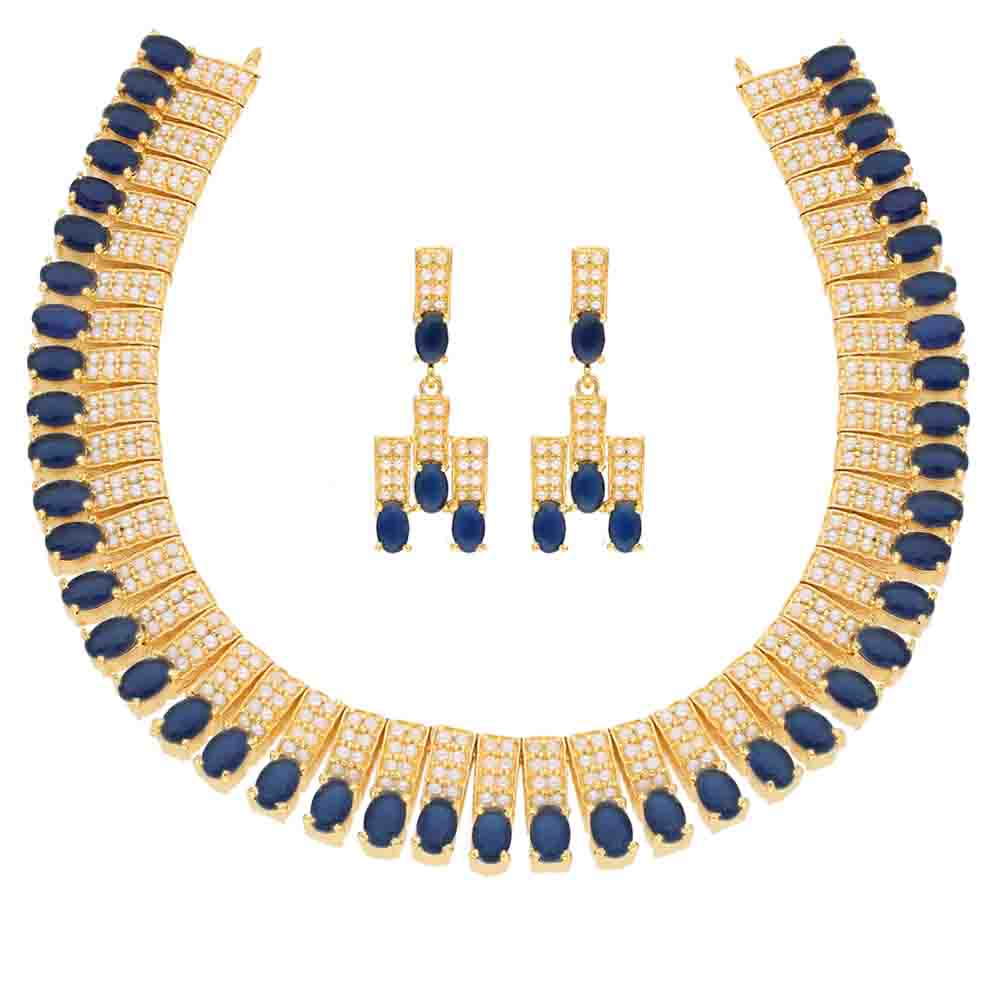 Blue Cz Choker Necklace