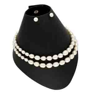 Precious-2 Lines Oval Pearl Necklace